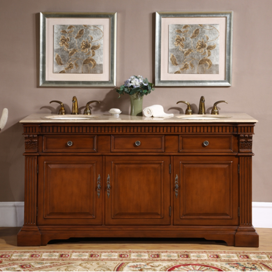67 inch double sink bathroom vanity with travertine - Pictures of vanities in bathrooms ...