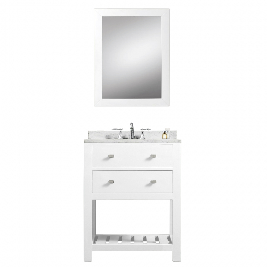 24 inch single sink bathroom vanity with carerra white for Bathroom 24 inch vanity
