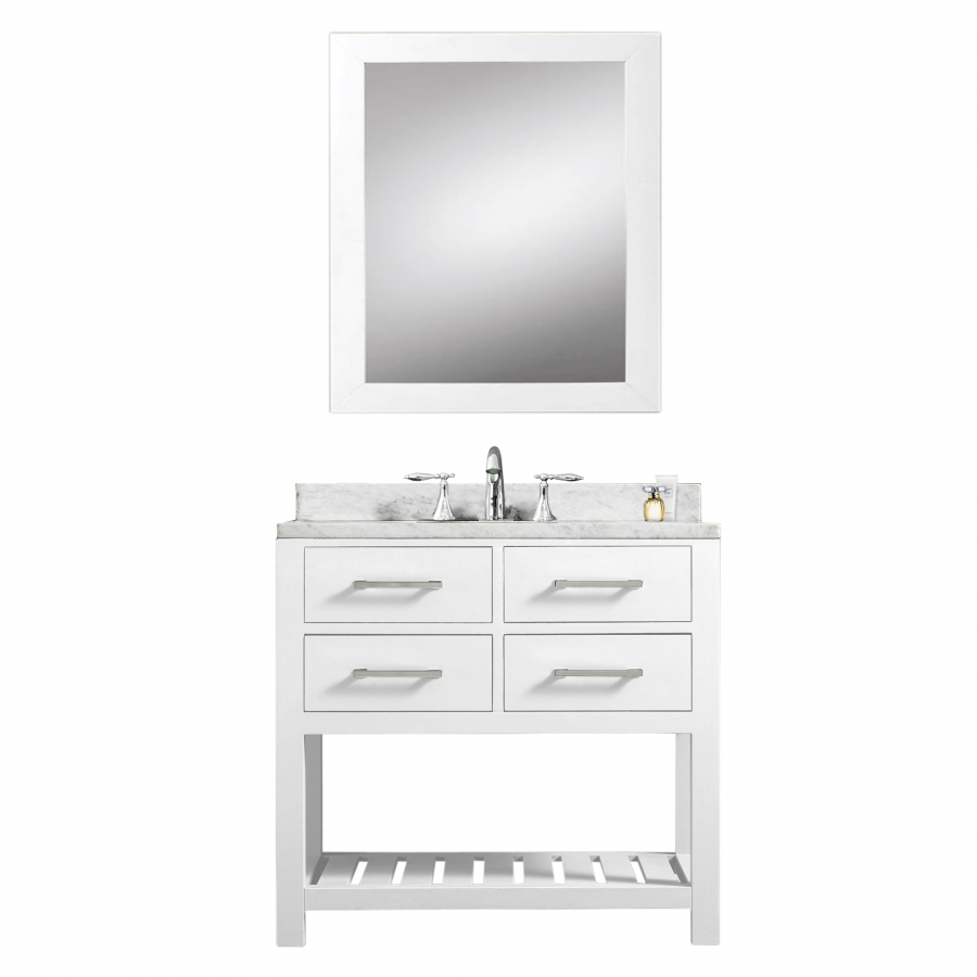 30 inch single sink bathroom vanity in pure white for Bathroom 30 inch vanity