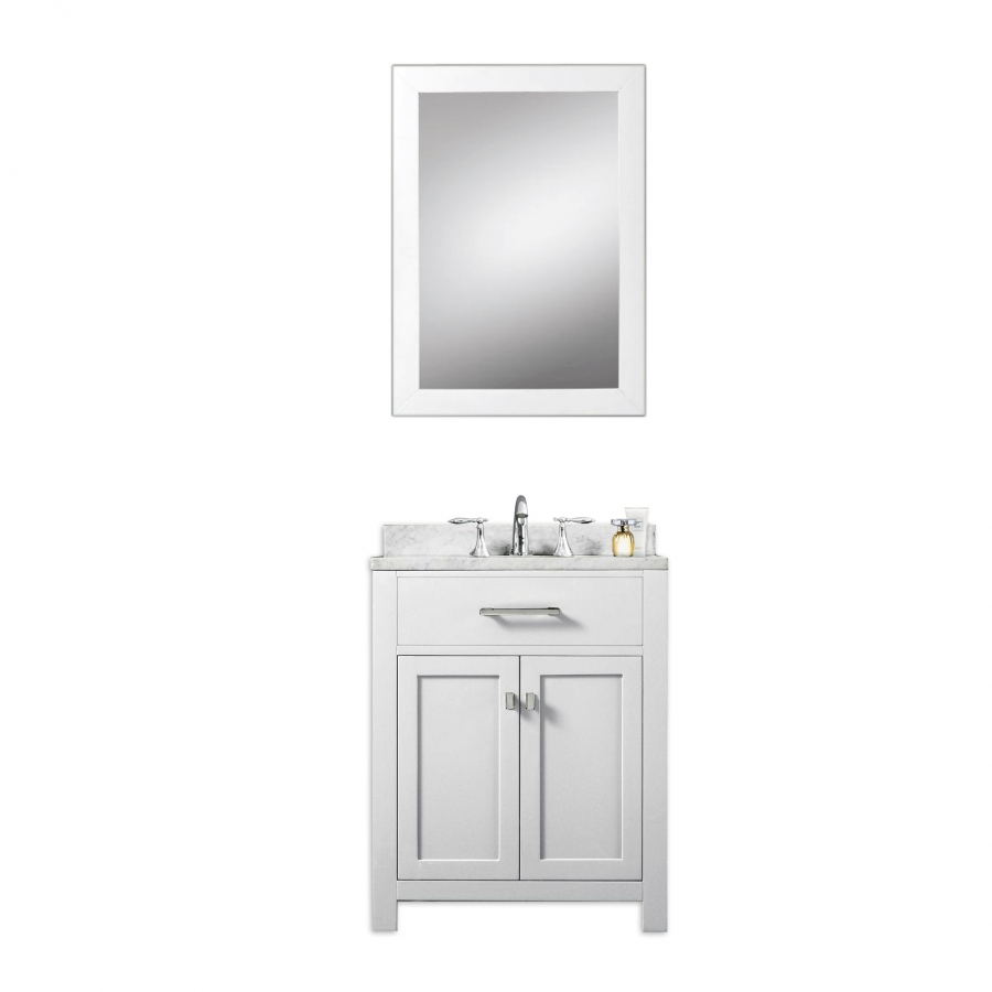 24 Inch Single Sink Bathroom Vanity In Pure White UVWCMADISON24W