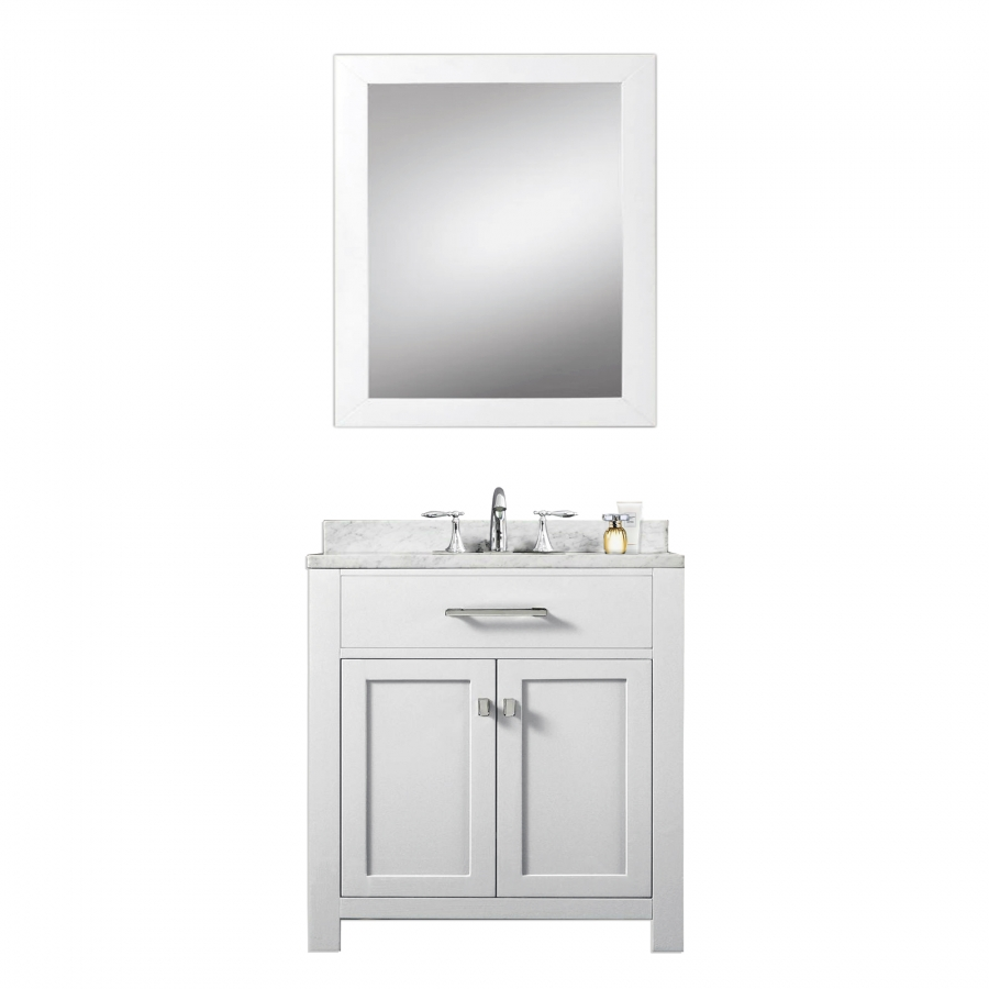 home 30 inch single sink bathroom vanity with carerra white marble