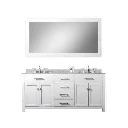60 Inch Double Sink Bathroom Vanity In Pure White