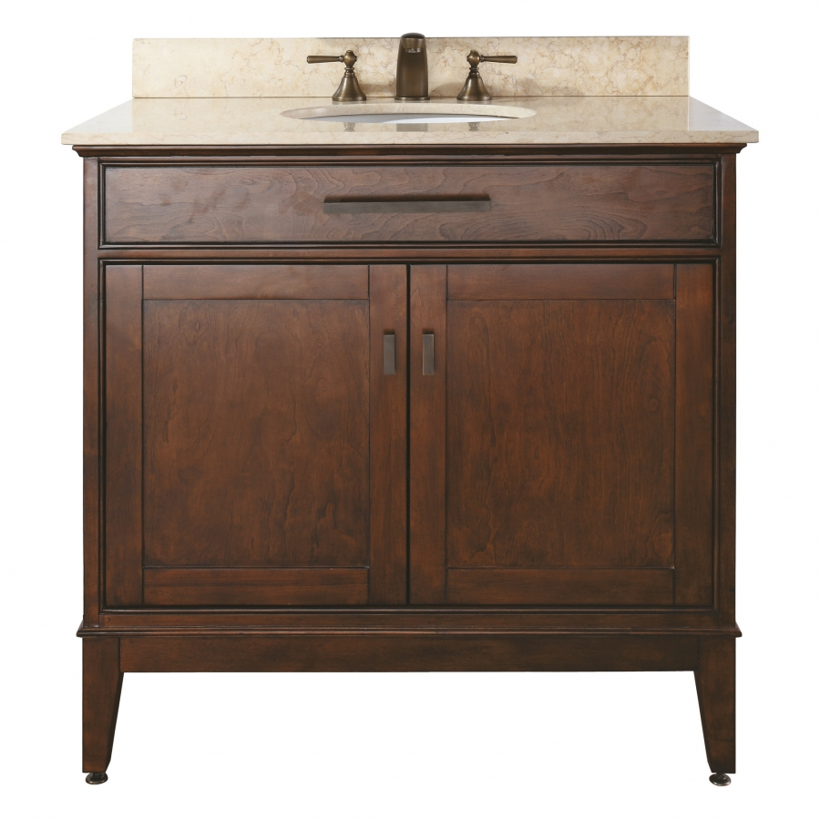 36 Inch Single Sink Bathroom Vanity in Tobacco with Choice ...