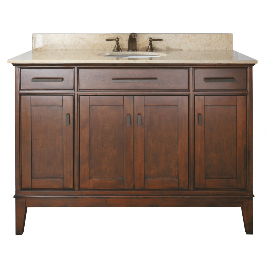 48 inch single sink bathroom vanity in tobacco finish with choice of countertop uvacmadisonv48to