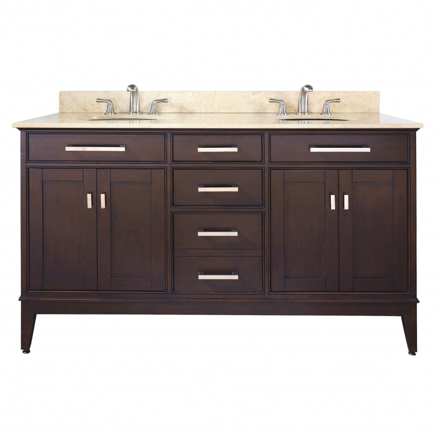 60 Inch Double Sink Bathroom Vanity in Espresso with ...