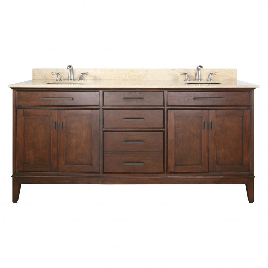 72 Inch Double Sink Bathroom Vanity In Tobacco With Choice
