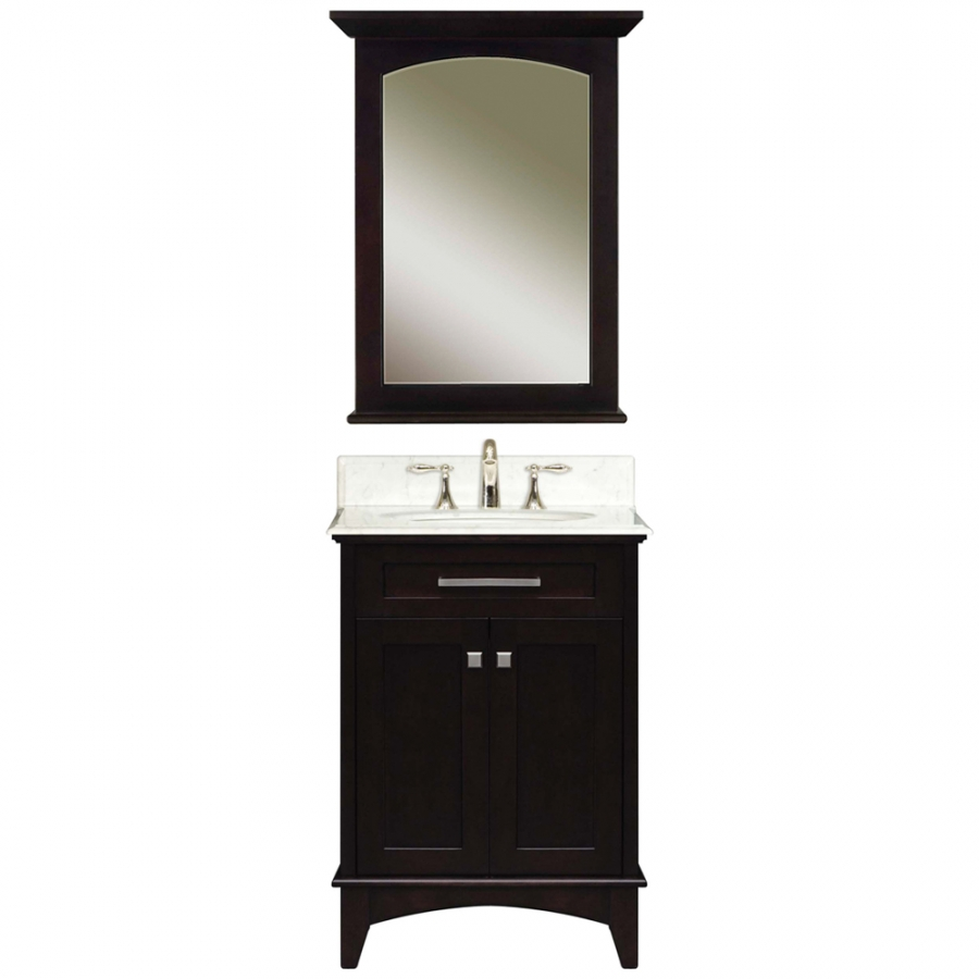 24 Inch Single Sink Vanity With A Dark Espresso Finish And A Carerra White Marble Top