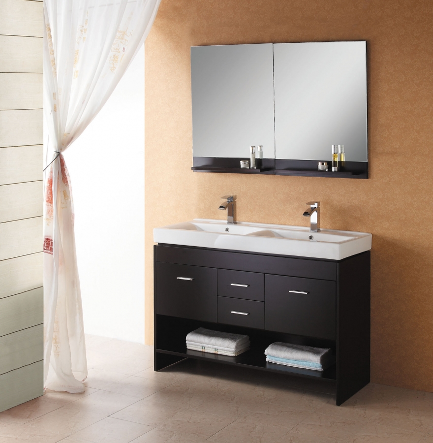 47 Inch Modern Double Sink Bathroom Vanity in Espresso with Open Shelf. Shop Double Sink Vanities with Free Upgrade to Inside Delivery