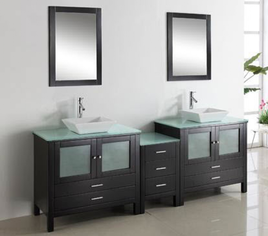 90 Inch Double Sink Vanity With Espresso Finish And