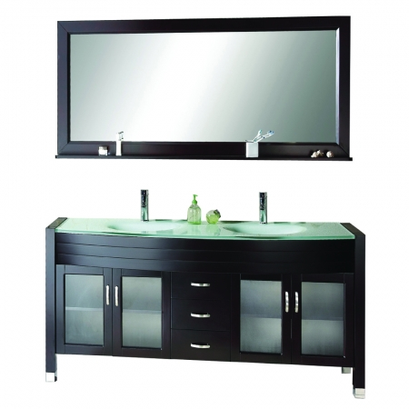 63 Inch Double Sink Vanity With Espresso Finish And Tempered Glass Top Uvvu49963