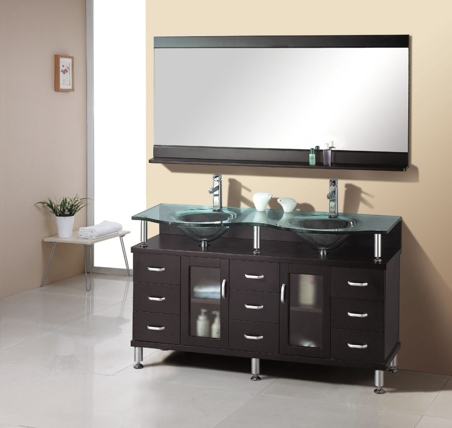 61 inch double sink bathroom vanity in espresso with glass top and sink