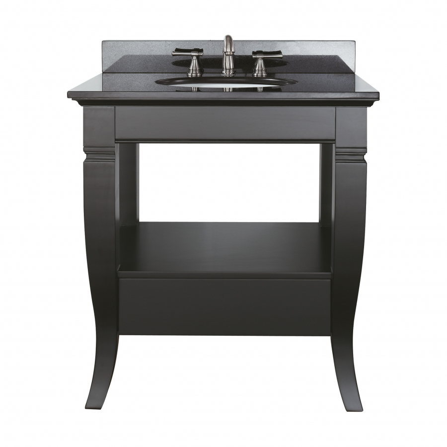 30 Inch Single Sink Bathroom Vanity with Open Shelf UVACMILANOV30BK