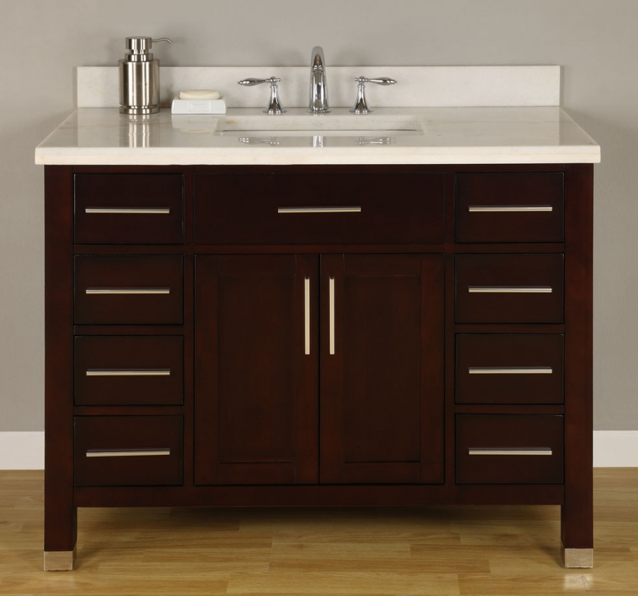 42 Inch Single Sink Modern Dark Cherry Bathroom Vanity With Choice Of Counter Top Uveimo42