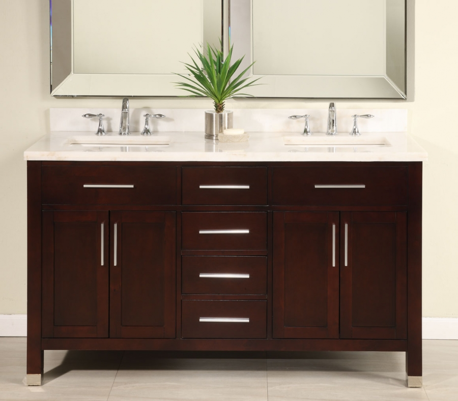60 inch double sink modern dark cherry bathroom vanity with choice of counter top uveimo60 for Pictures of bathrooms with double sinks