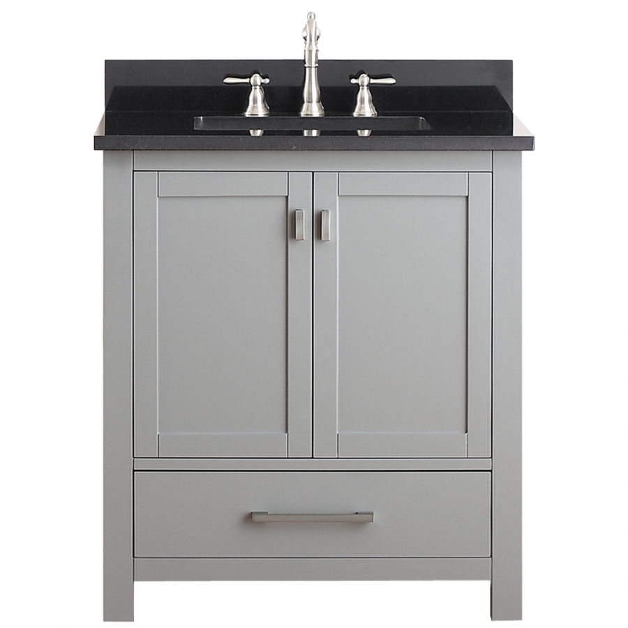 30 inch single sink bathroom vanity in chilled gray for Bathroom cabinets 30 inch