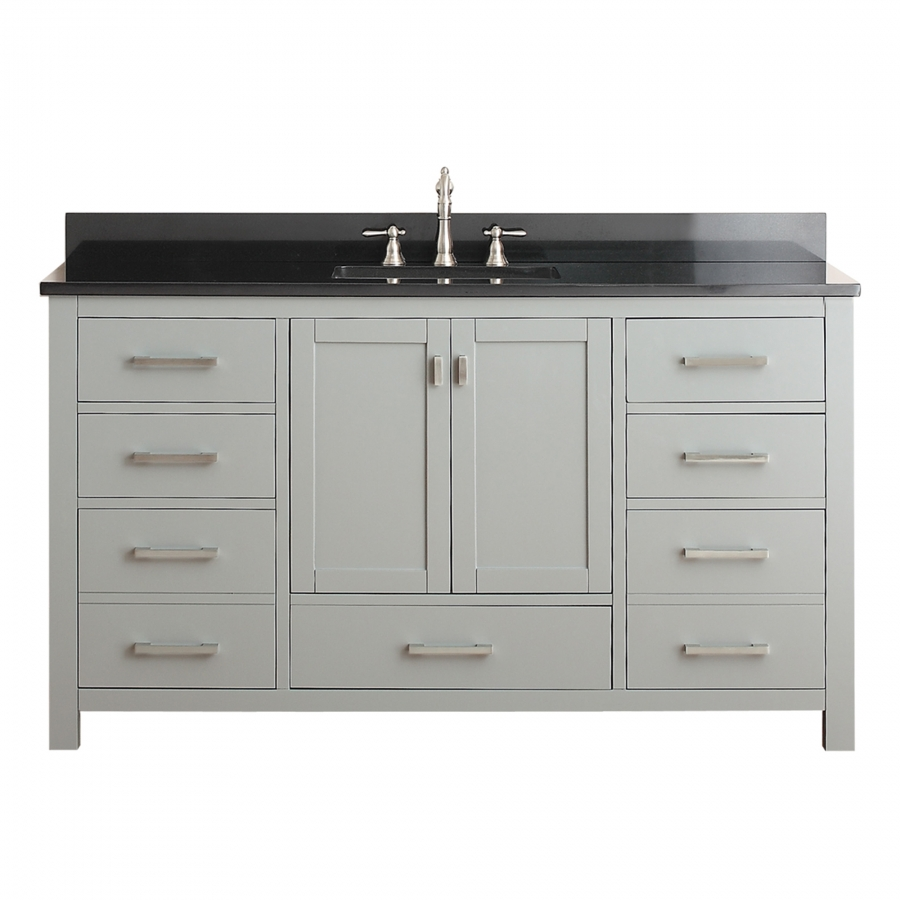 60 Inch Single Sink Bathroom Vanity In Chilled Gray With Storage Uvacmoderov60cga60