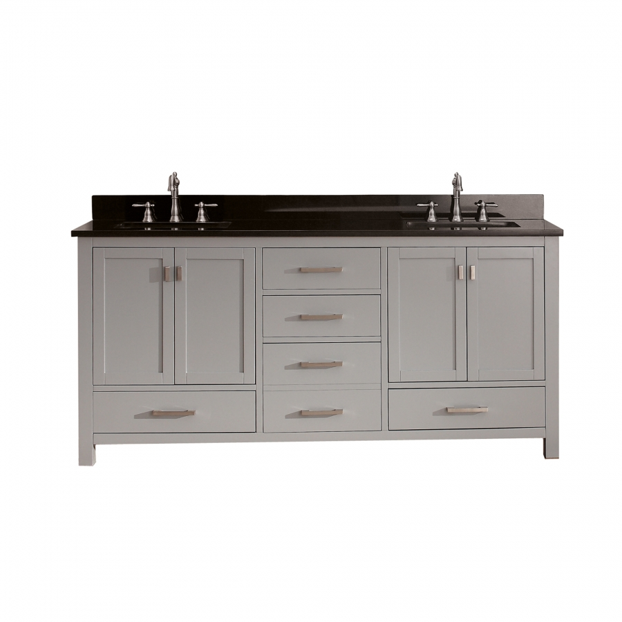 72 Inch Double Sink Bathroom Vanity In Chilled Gray With Storage UVACMODEROV7