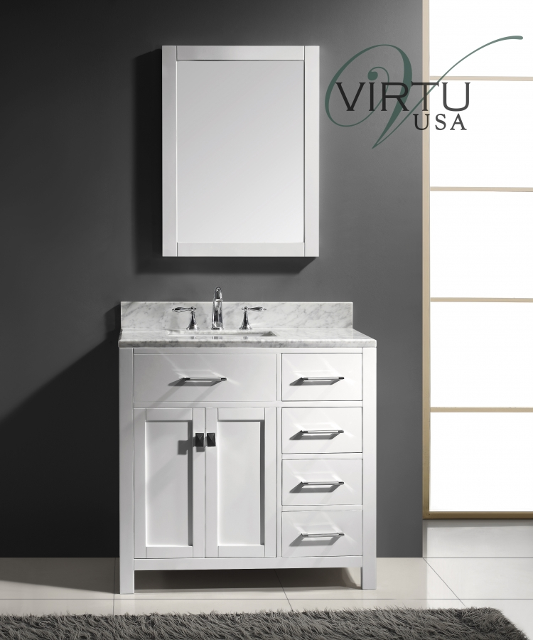 36 inch single sink bathroom vanity with sink on the left for Virtu usa caroline 36 inch single sink bathroom vanity set
