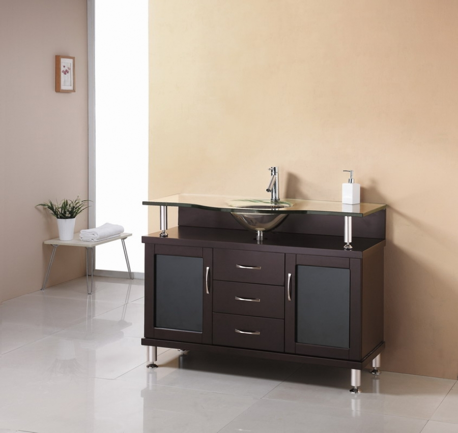 48 Inch Single Sink Bathroom Vanity In Espresso With Glass Top And Sink Uvvu4848