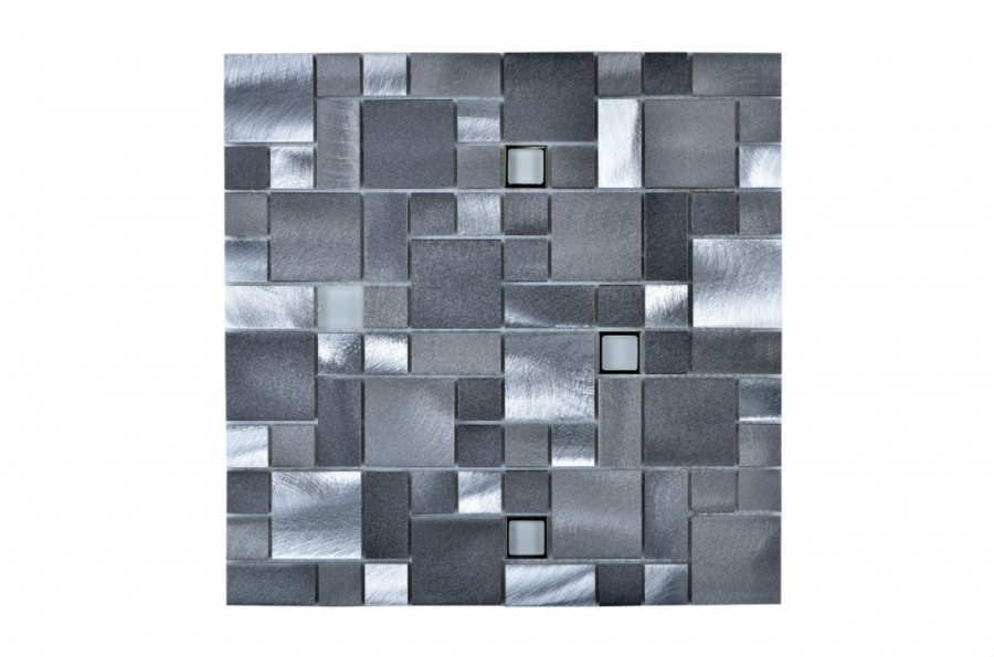 Silver and Gray Mosaic Aluminum Tiles