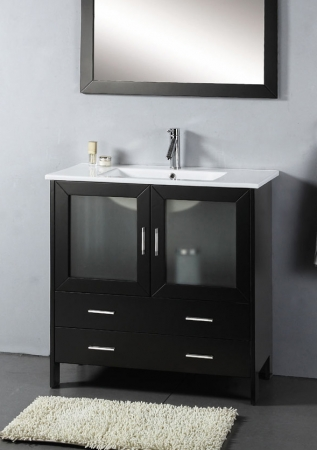 36 Inch Modern Single Sink With Mirror Espresso Uvvu31335