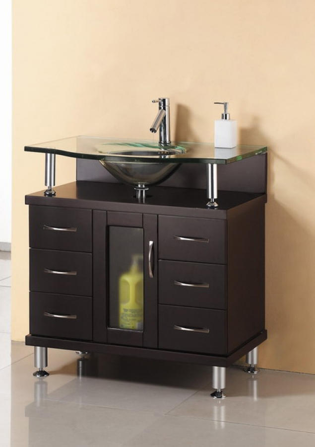 32 inch single sink bathroom vanity in espresso with glass - Bathroom vanities 32 inches wide ...