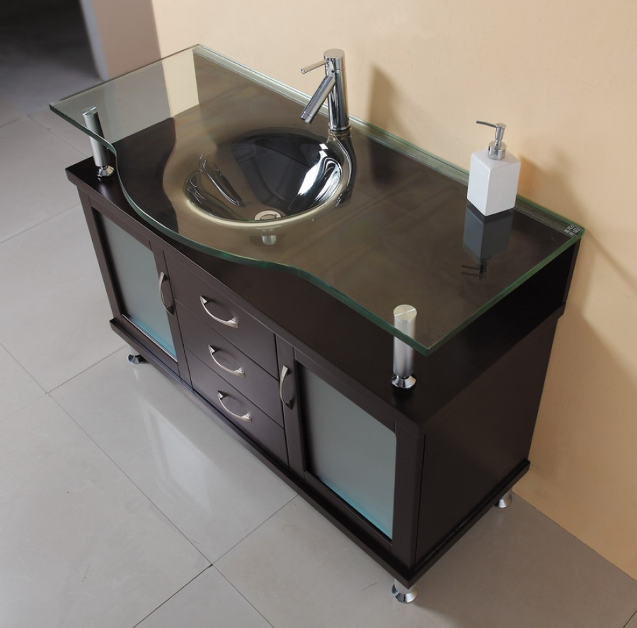 48 inch single sink bathroom vanity in espresso with glass top and