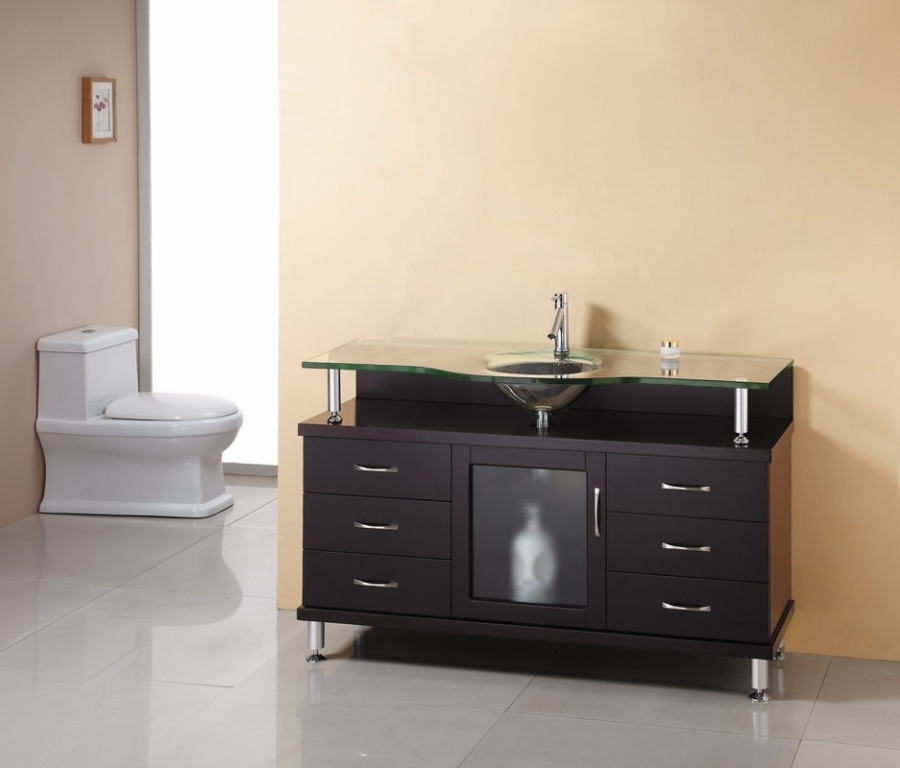 55 Inch Espresso Single Sink Bathroom Vanity With Glass Top