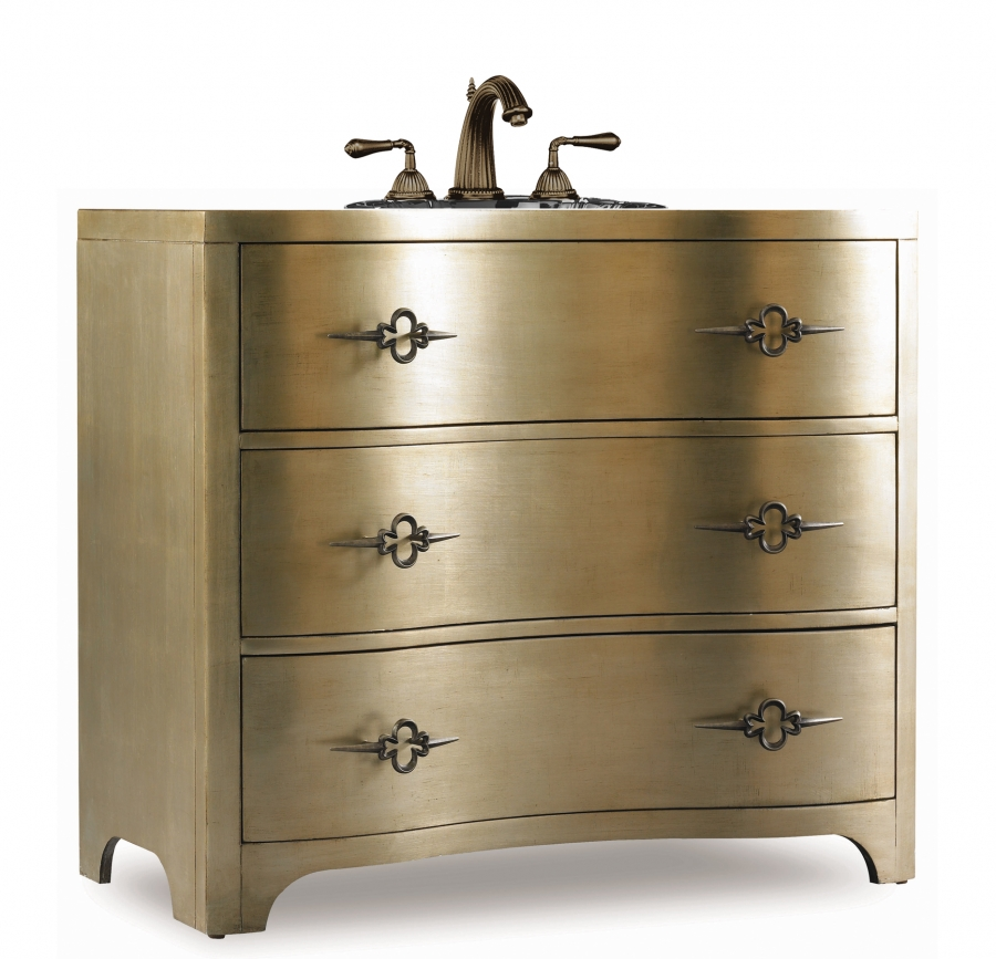 38 Inch Single Sink Bathroom Vanity In Silver Gold Leaf