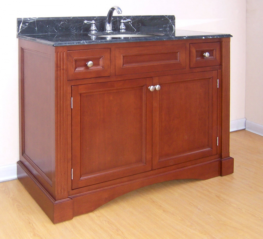 42 Inch Single Sink Bathroom Vanity With Choice Of Finish And Counter