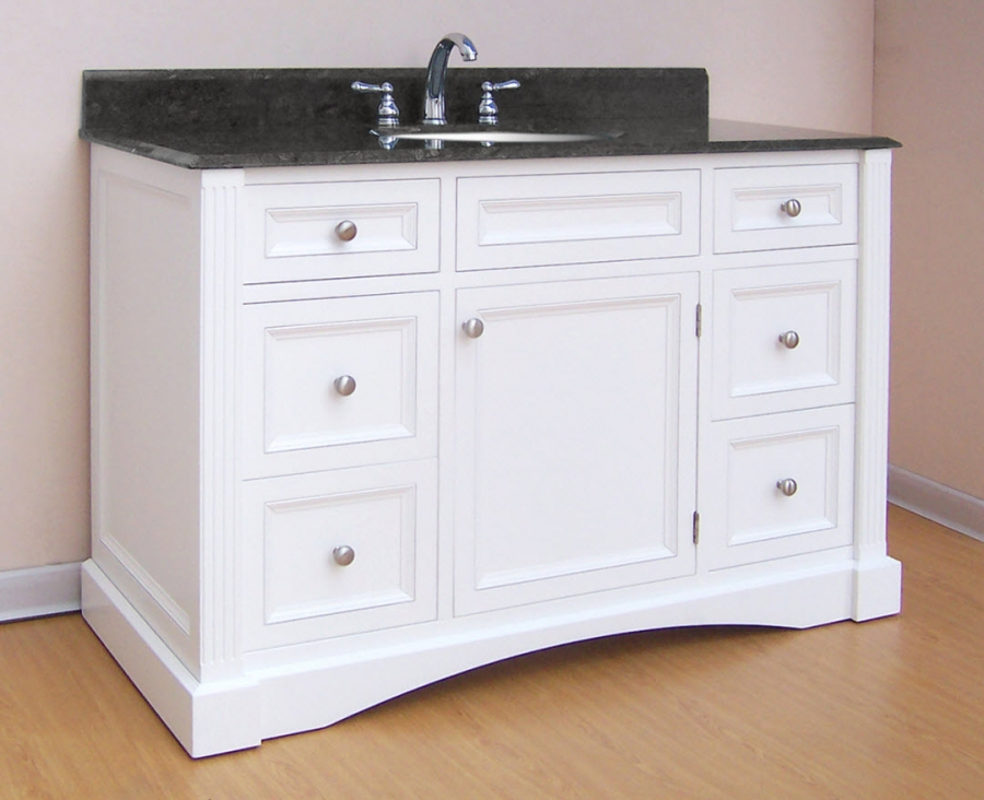 48 inch single sink bathroom vanity with white finish and counter top