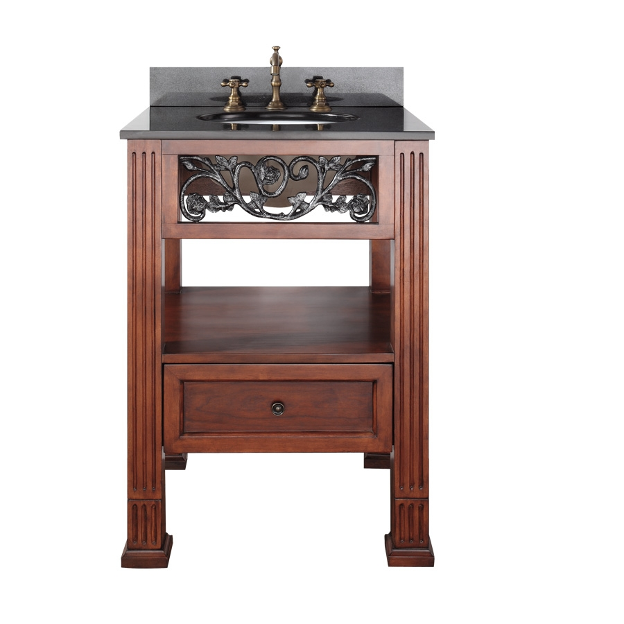 25 inch single sink bathroom vanity with dark cherry finish and black