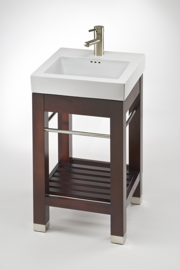 16 Inch Vanity Sink Part - 28: 17.9 Inch Single Sink Square Console Bathroom Vanity With White Ceramic Sink
