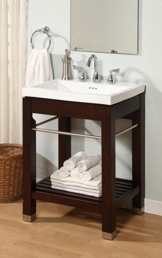 24 Inch Single Sink Square Console Bathroom Vanity With White Ceramic