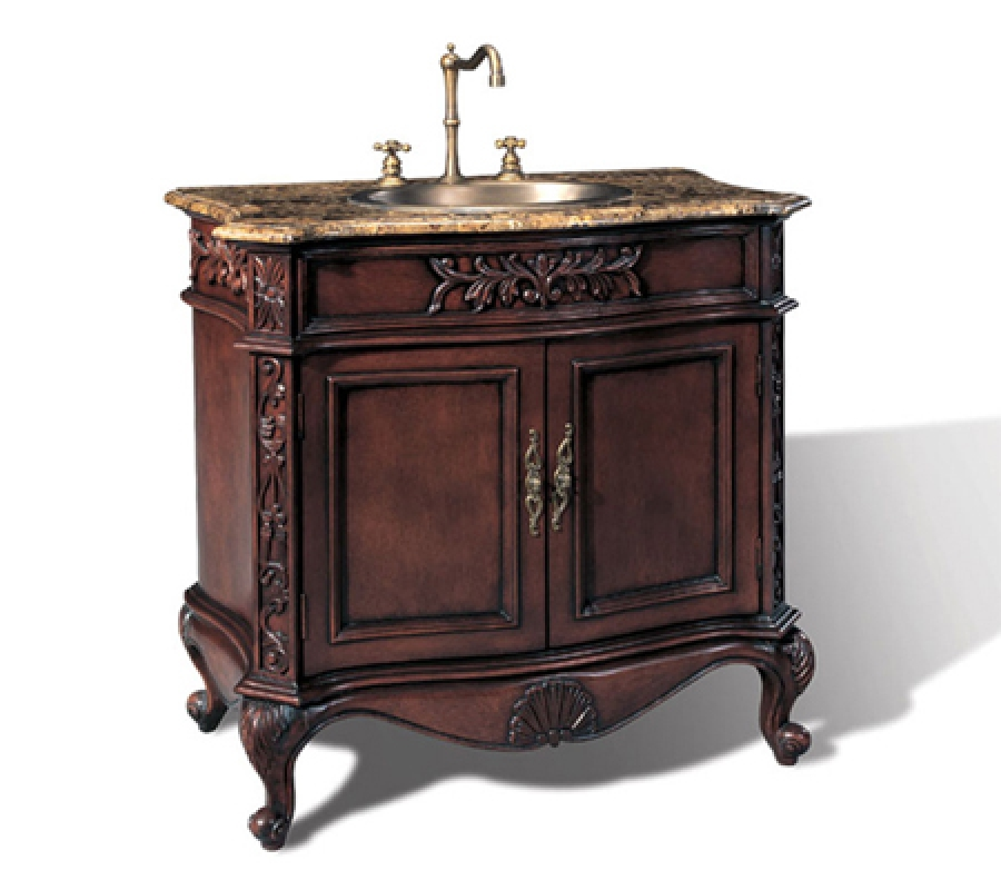 36 Inch Tranditional Style Single Sink Vanity With Brown
