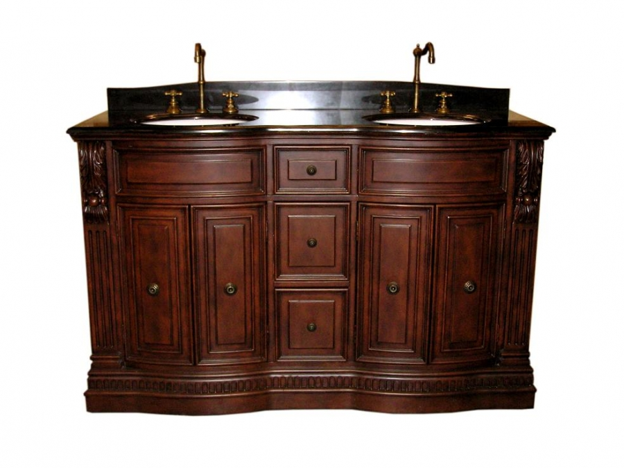 60 Inch Furniture Style Double Sink Bathroom Vanity With Black Granite UVLF54