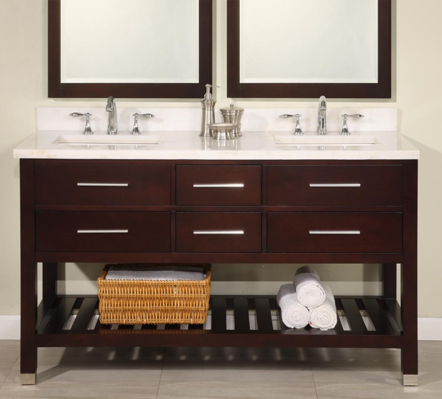 60 Inch Double Sink Modern Cherry Bathroom Vanity with Open Shelf ...