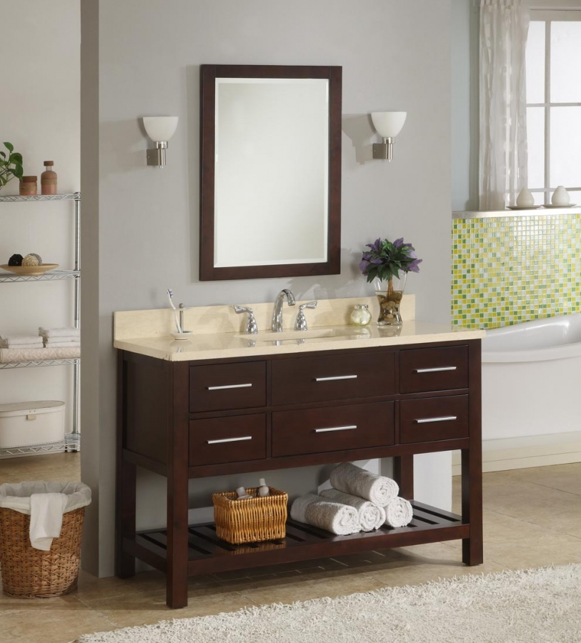 48 Inch Single Sink Modern Cherry Bathroom Vanity with Open Shelf and