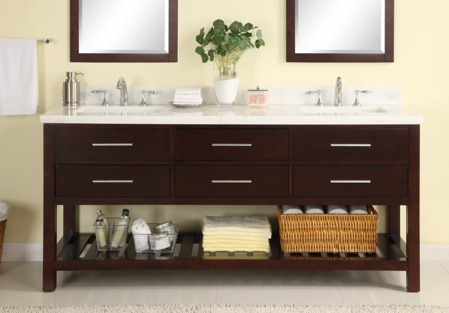 72 Inch Double Sink Modern Cherry Bathroom Vanity with Open Shelf and White  Carrera Marble Shop Vanities 61 to Inches Free Shipping