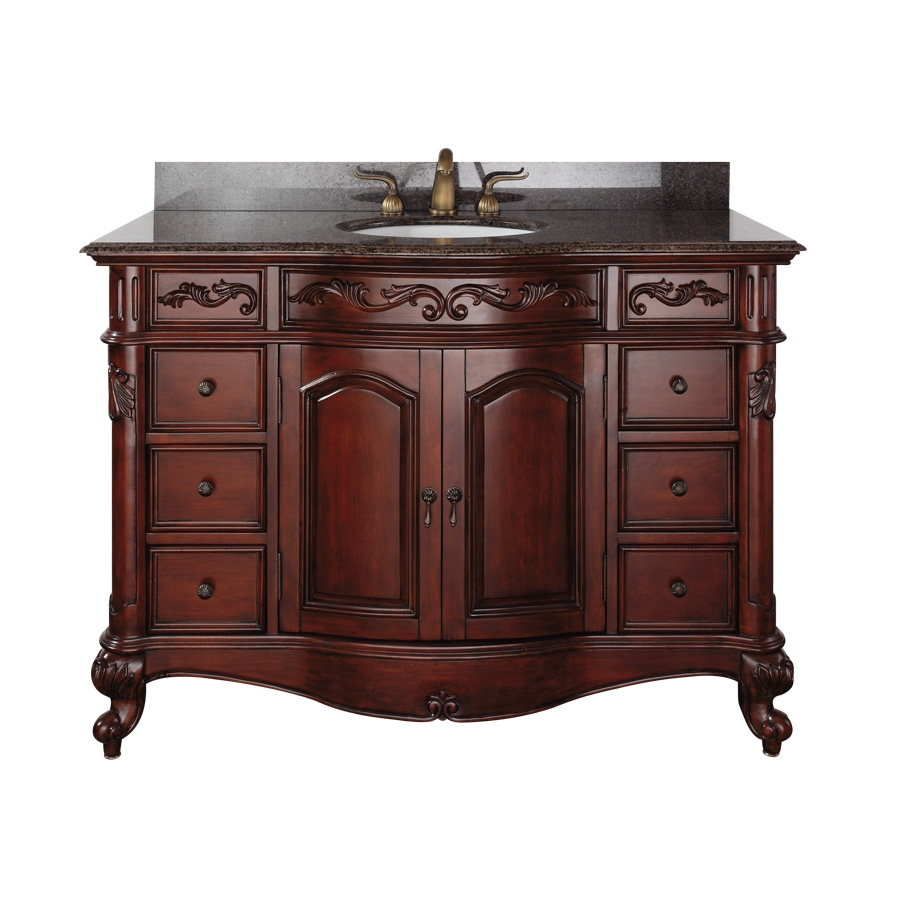 49 Inch Single Sink Bathroom Vanity with Antique Cherry Finish and Choice  of Counter Top. Shop Bathroom Vanities 49 to 60 Inches Wide with Free Shipping