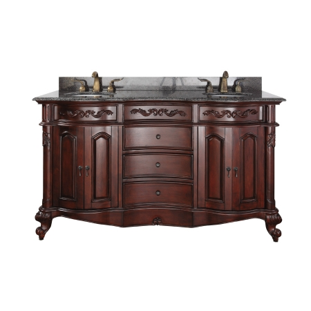 61 Inch Double Sink Bathroom Vanity With Antique Cherry Finish And Imperial B