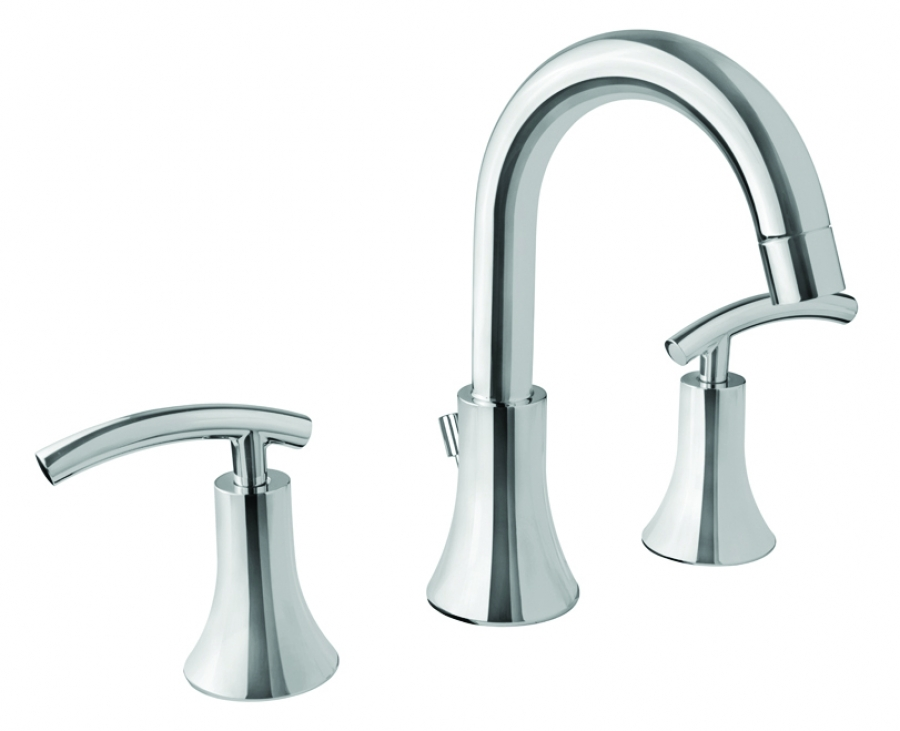 7 Faucet Finishes For Fabulous Bathrooms: Polished Chrome Three Hole Bathroom Vanity Faucet UVVU268PC