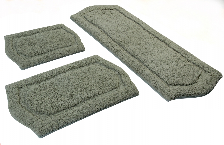3 Piece Paradise Memory Foam Bath Rug Set In Sage Uvcm43261