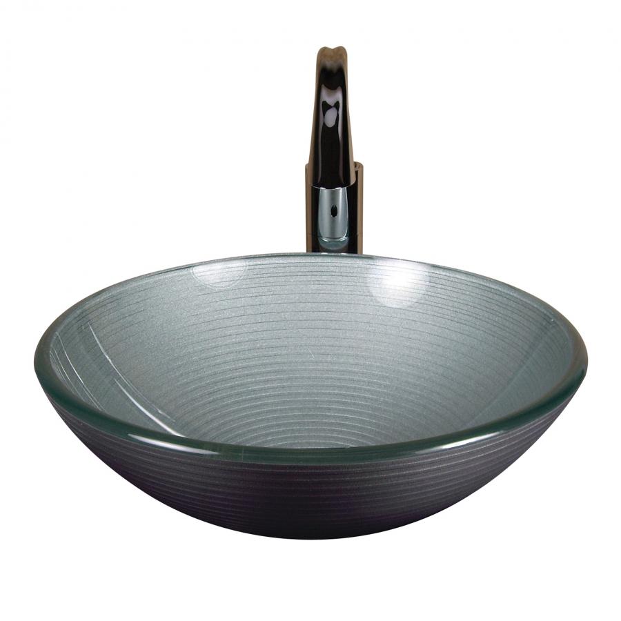 Silver Round Glass Vessel Sink Uvyhdpearl