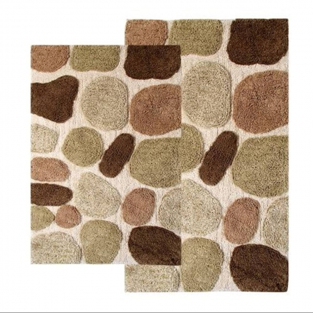 2 Piece Pebbles Bath Rug Set In Khaki Uvcm26650