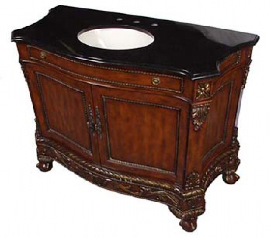 49 Inch Single Sink Bathroom Vanity Cabinet With Black