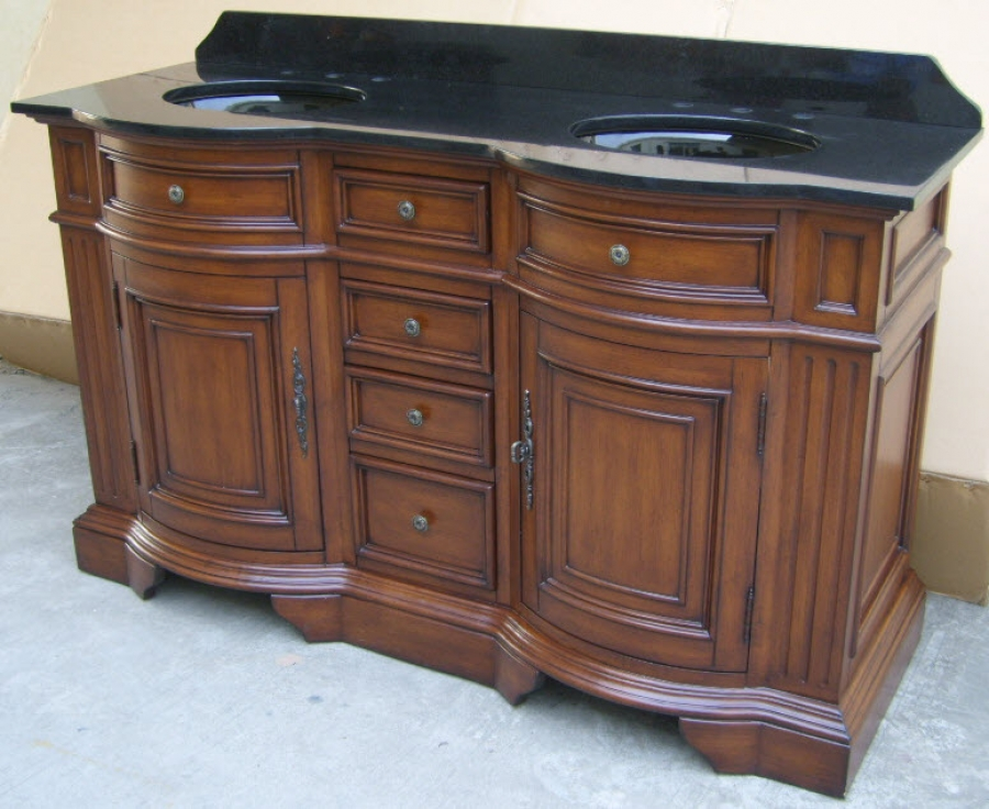 60 inch double sink bathroom vanity in cherry walnut stain for Bathroom 60 inch vanity
