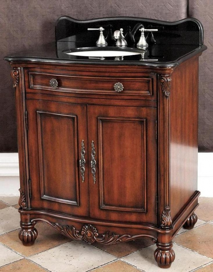 32 Inch Single Sink Bathroom Vanity With Black Granite Top UVCD5232S32