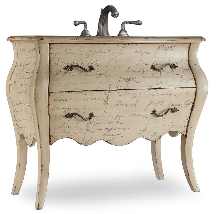 41 inch single sink bathroom vanity with choice of top for Bathroom cabinet french style
