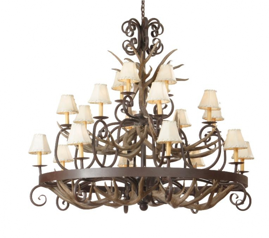 20 light mule deer antler chandelier with wrought iron uvsis118 aloadofball Images